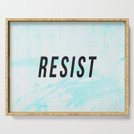 RESIST 1.0 - Black on Teal #resistance Serving Tray