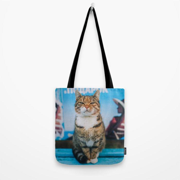 Suspicious cat Tote Bag