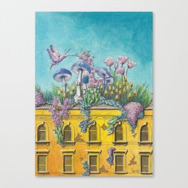 Yellow Building in Pilsen with Natural Growth Canvas Print