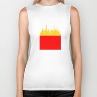 french fries Biker Tanks featuring City Fries by OneWeirdDude