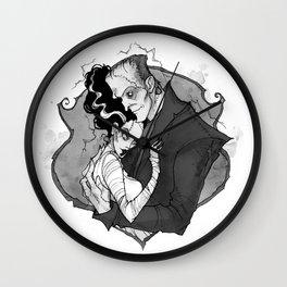 Inktober Frankenstein's monsters Wall Clock