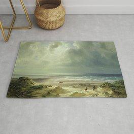 'The Last Days of Summer' coastal landscape painting by Christian Ernst Bernhard Morgenstern Rug