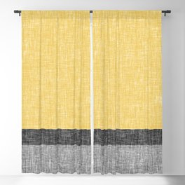 Yellow Grey and Black Section Stripe and Graphic Burlap Print Blackout Curtain