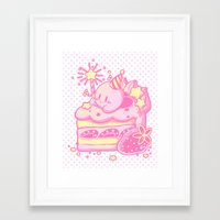 kirby Framed Art Prints featuring Kirby Cake by Miski
