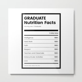Graduate Nutrition Facts Metal Print