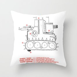 every tank i ever drew in third grade Throw Pillow