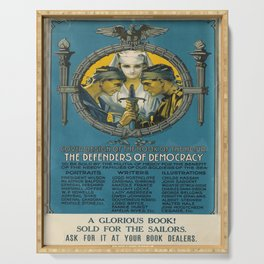 retro cover design of the book of the hour   the defenders of democracy. 1917  Serving Tray