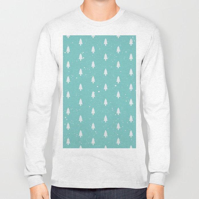 Christmas Trees Pattern Mint Long Sleeve T-shirt