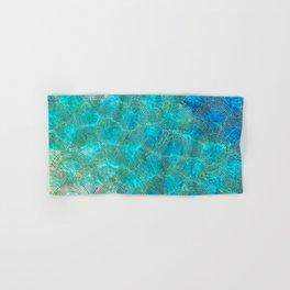 Sea Ocean Waves effect- Gold and Aqua Scales Pattern Hand & Bath Towel