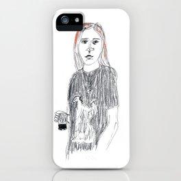 Biro and coloured pencil portrait  iPhone Case