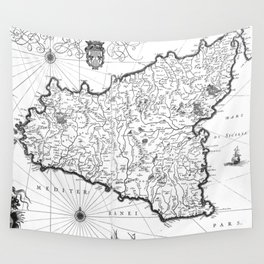 Vintage Map of Sicily Italy (1600s) BW Wall Tapestry