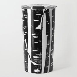 Woodcut Birches Black Travel Mug