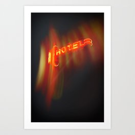 Hotel Red Neon Sign Art Print