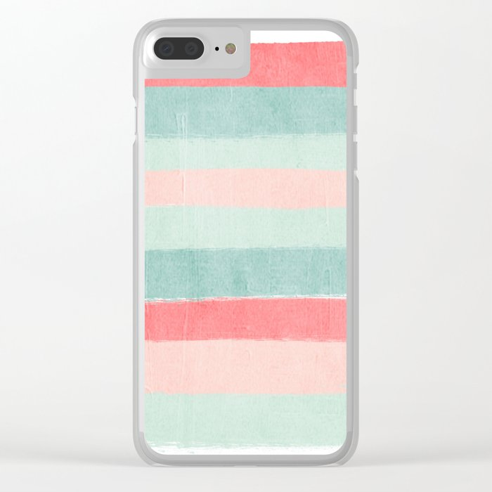 Stripes painted coral minimal mint teal bright southern charleston decor colors Clear iPhone Case