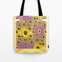YELLOW ART NOUVEAU SUNFLOWERS ABSTRACT DESIGN Tote Bag