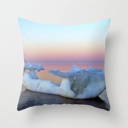 Viking Iceship on the Sea Throw Pillow