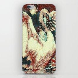 WHITE SWAN BROWNS & GREY  MODERN ART DESIGN iPhone Skin