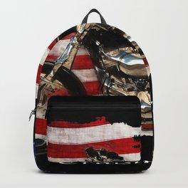 Patriotic US Flag and Motorcycle Backpack