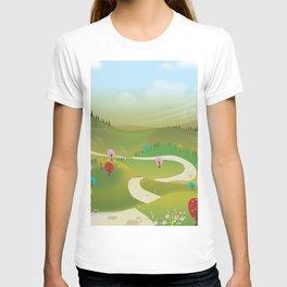 Cartoon hilly landscape T-shirt
