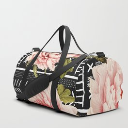 Flowering pink on drawn lines Duffle Bag