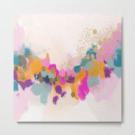 Abstract- `pink, orange, gold Metal Print