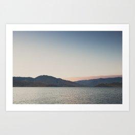 sunset over the lake ... Art Print