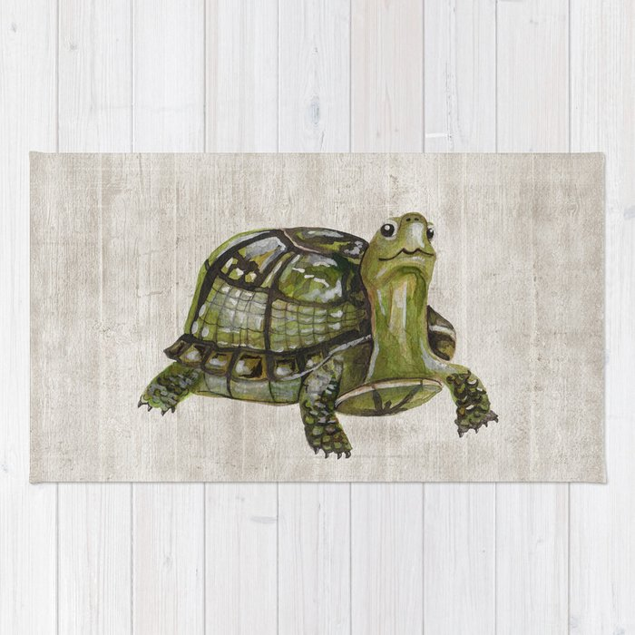 Little Turtle, Forest Animals, Woodland Decor, Woodland Art, Rug