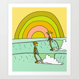follow the light rainbow sunrise daydream hang 10 Art Print