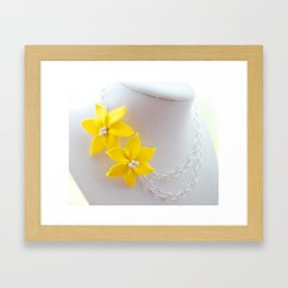 Clay Flower Necklace On Display Framed Art Print