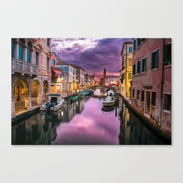 Venice Italy Canal at Night Canvas Print