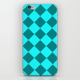 Turquoise checkered pattern . iPhone Skin