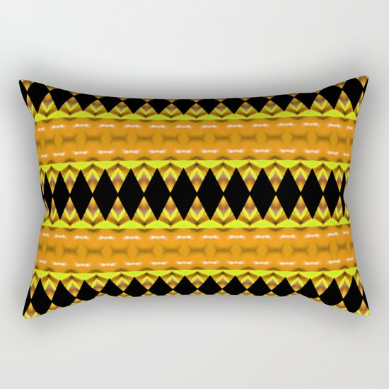 Black Diamonds on Orange Rectangular Pillow