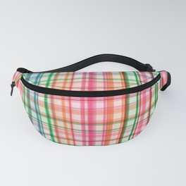 Preppy 1980s Plaid in Pink and Green Fanny Pack