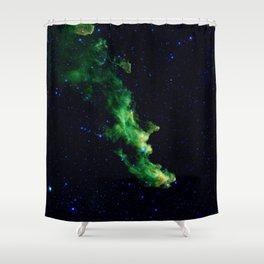 Galaxy: Green Witch's Head Nebula Shower Curtain