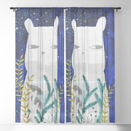 polar bear with botanical illustration in blue Sheer Curtain