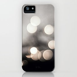 Black and White Bokeh Lights Photography, Sparkle Light Art, Neutral Sparkly Photo iPhone Case