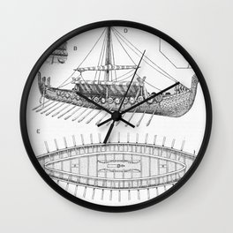 Vintage Viking Naval Ship History and Diagram Wall Clock