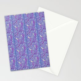 Crescent Moon and Hot Pink Stars Stationery Cards