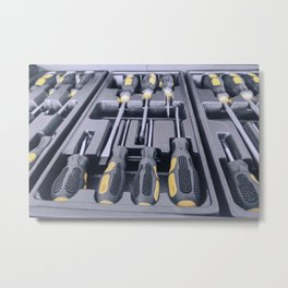 Set of Screwdrivers inside Toolbox, Screwdrivers Set, Box with Set of Tools, Set Mechanical Tools. Metal Print