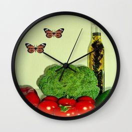 Summer Vegetables with Herb Oil Wall Clock