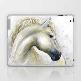 White Horse Watercolor Painting Animal Horses Laptop & iPad Skin