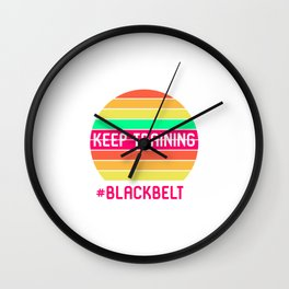 Keep Training Black Belt Martial Arts Lovers BJJ Submissions Wall Clock
