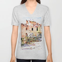 L'Aquila: buildings damaged by the earthquake Unisex V-Neck