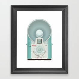 VINTAGE CAMERA BLUE Framed Art Print