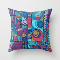 stained glass Throw Pillows featuring Stained Glass by Helene Michau