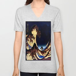 The GREAT Wave Midnight Blue Brown Unisex V-Neck