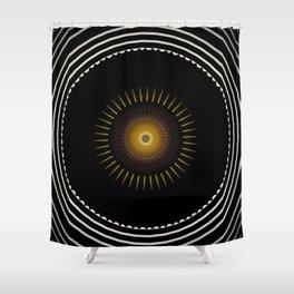 Modern Circular Abstract with Gold Mandala Shower Curtain