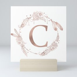 Letter C Rose Gold Pink Initial Monogram Mini Art Print