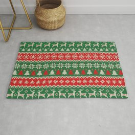 Merry Christmas and Happy New Year illustration knitted pattern with Christmas balls, snowflakes and fir. Scandinavian style. Winter Holiday Sweater Design Rug
