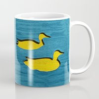 ducks Mugs featuring Ducks by Brontosaurus